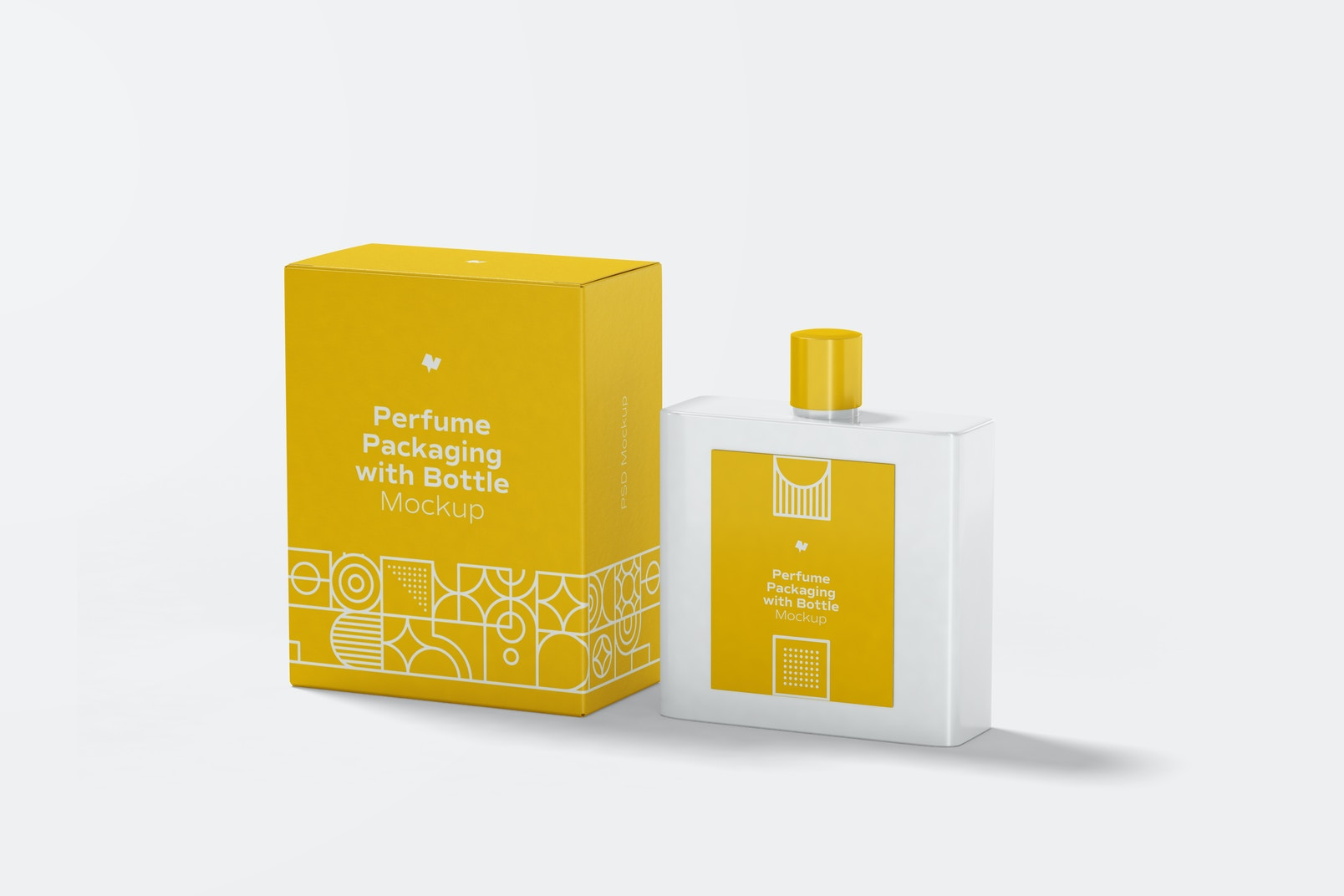 Perfume Packaging with Bottle Mockup, Perspective