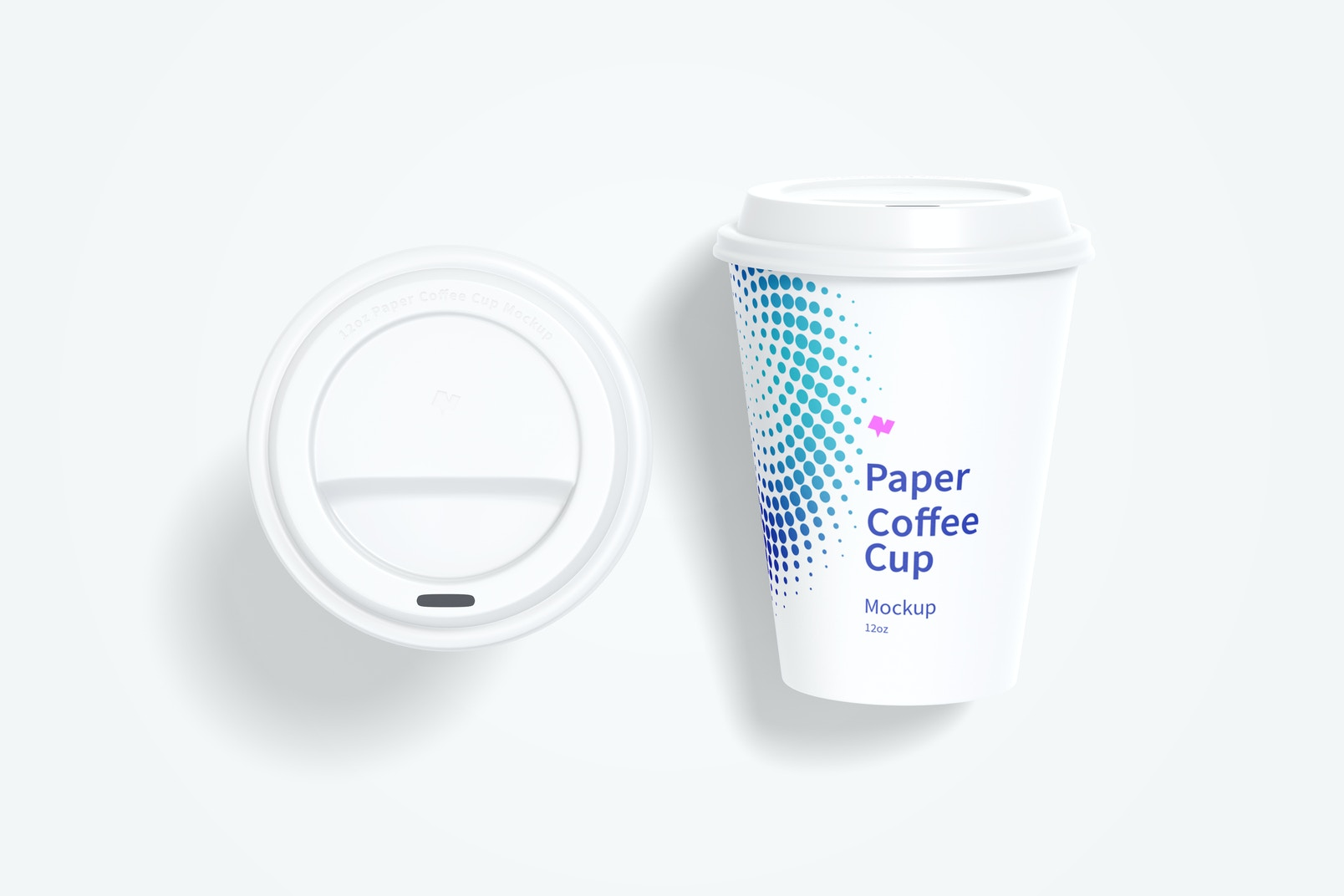 12oz Paper Coffee Cups Mockup, Top View