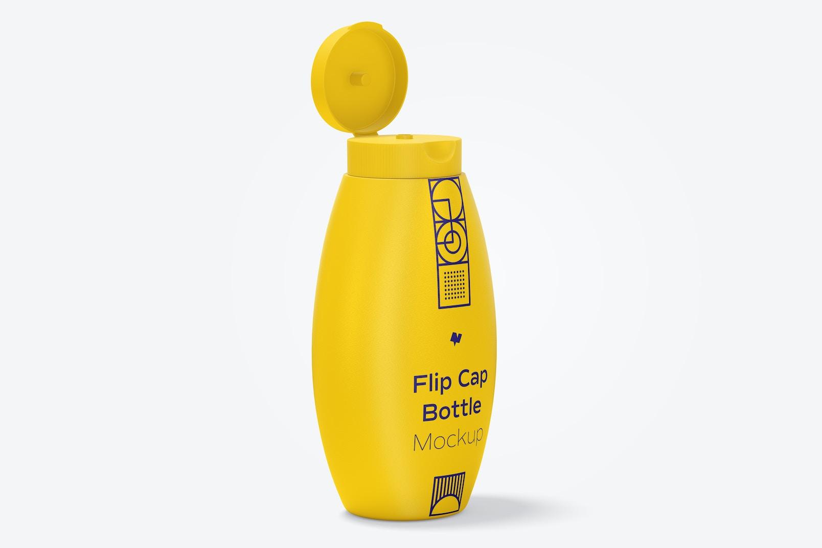 Flip Cap Bottle Mockup, Opened