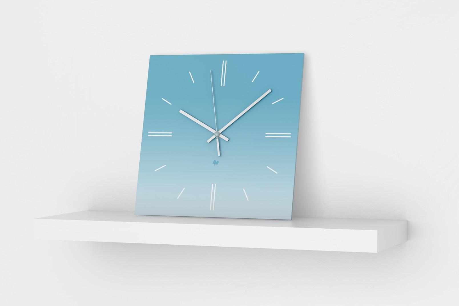 Square Wall Clock Mockup, Perspective