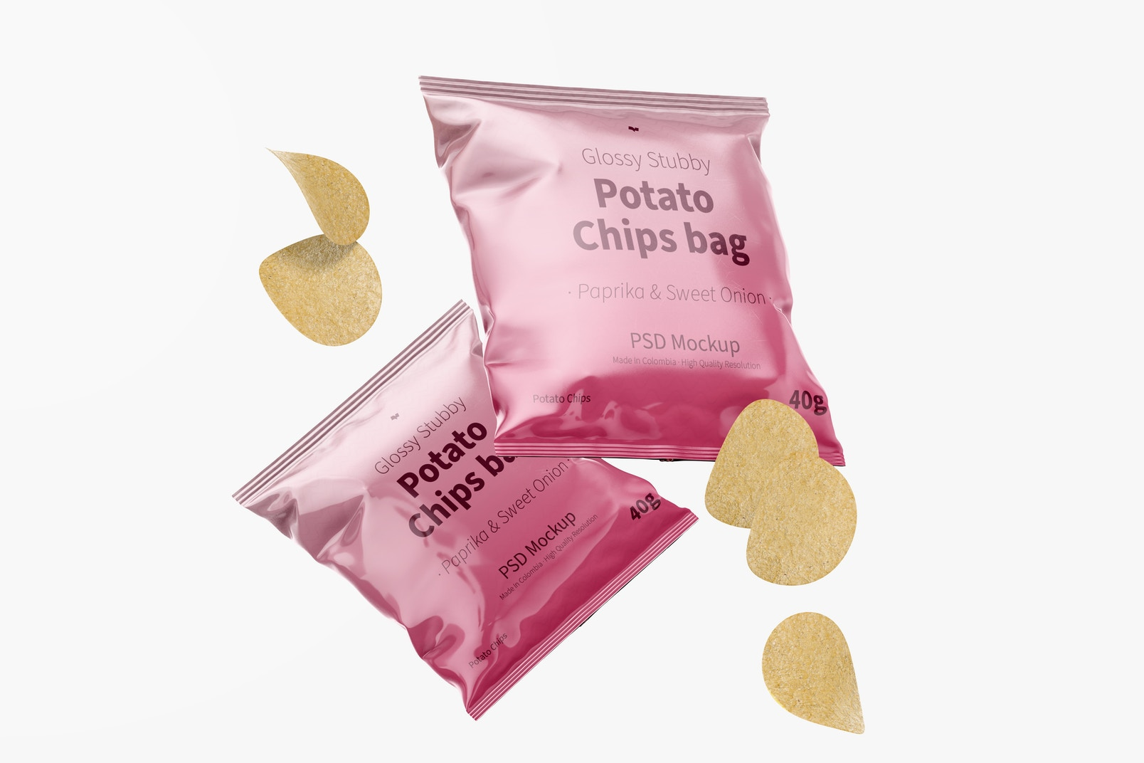 Glossy Stubby Chips Bag Mockup, Floating