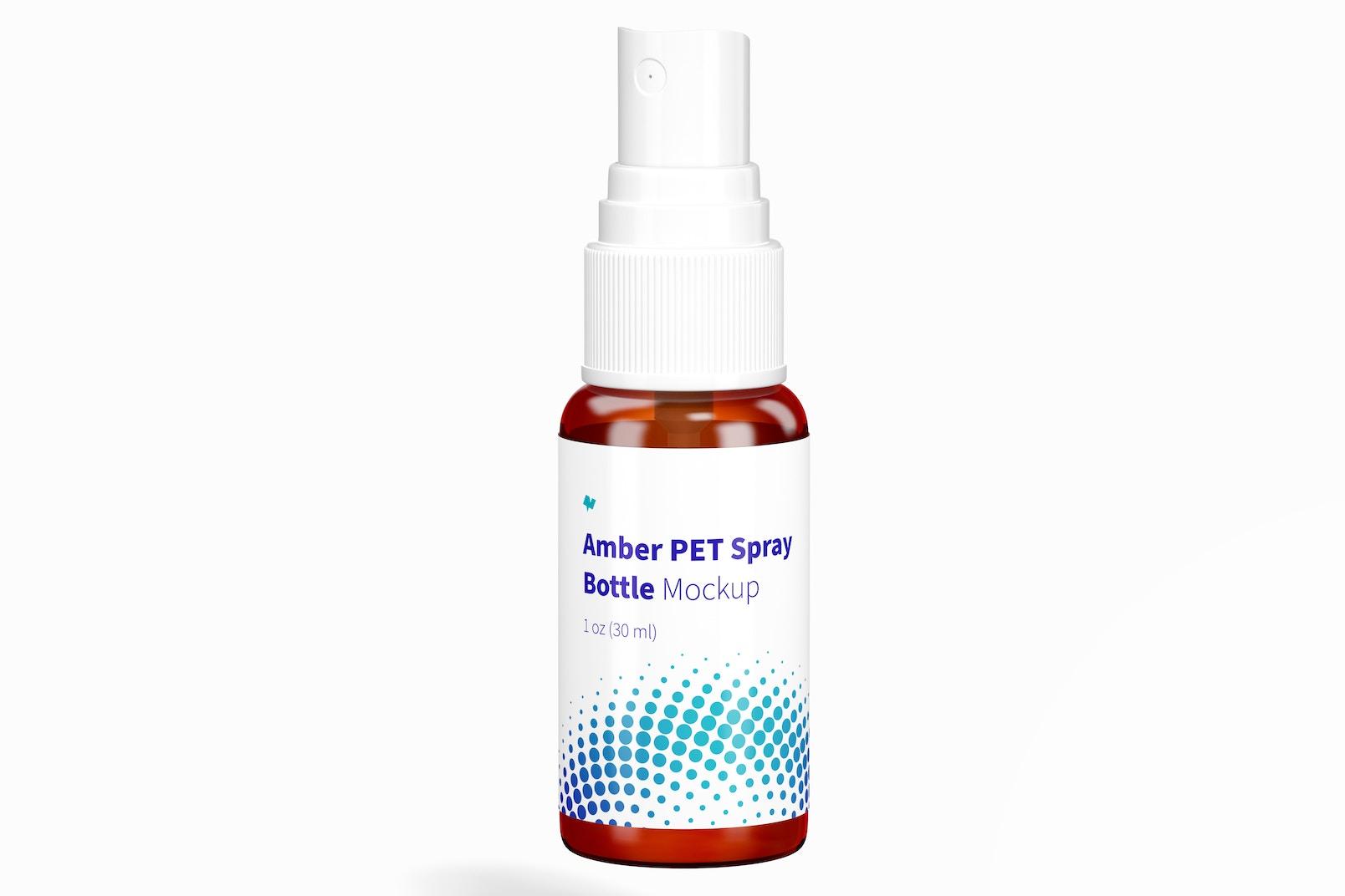 1 oz Amber PET Spray Bottle Mockup