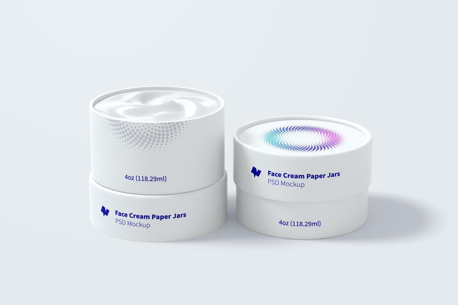 4oz Face Cream Paper Jars Mockup
