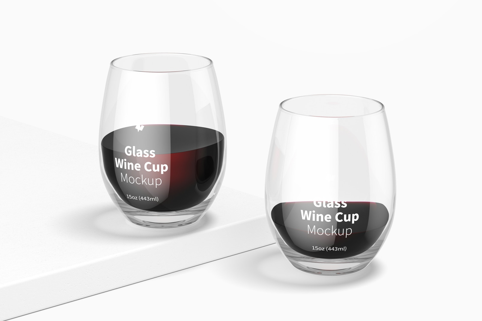 15 oz Glass Wine Cups Mockup, Front View