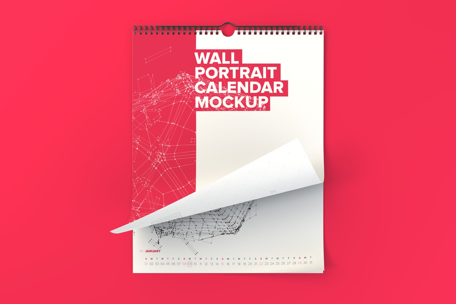 Wall Portrait Calendar Rolled Page Mockup - Custom Background