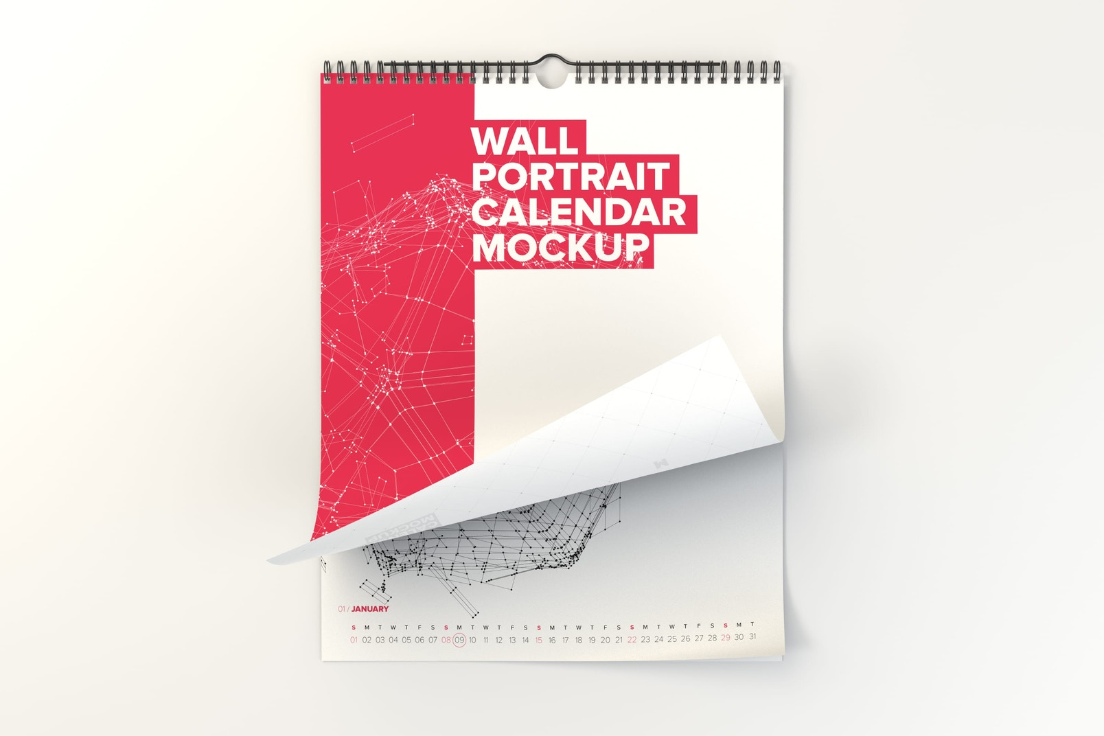 Wall Portrait Calendar Rolled Page Mockup