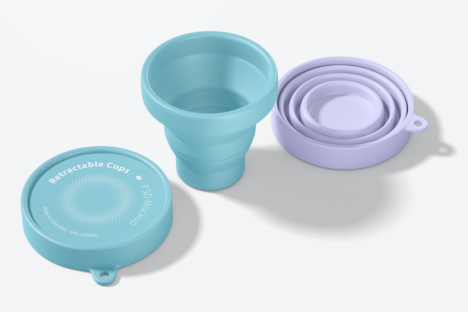 Retractable Cups Mockup, Perspective View
