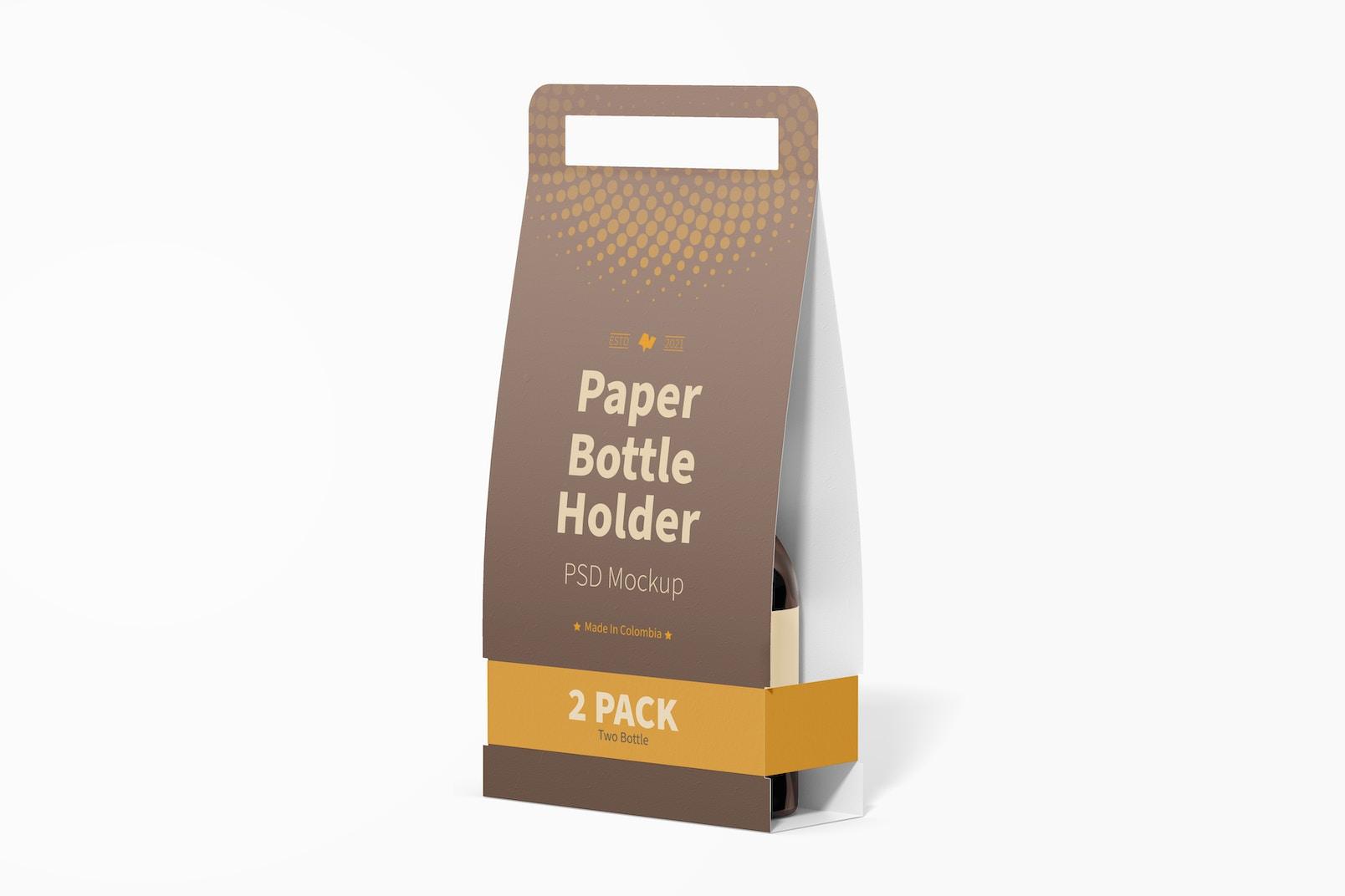 2 Pack Paper Bottle Holder Mockup