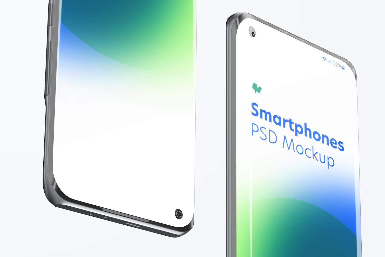 Xiaomi Smartphones Mockup, Close-Up