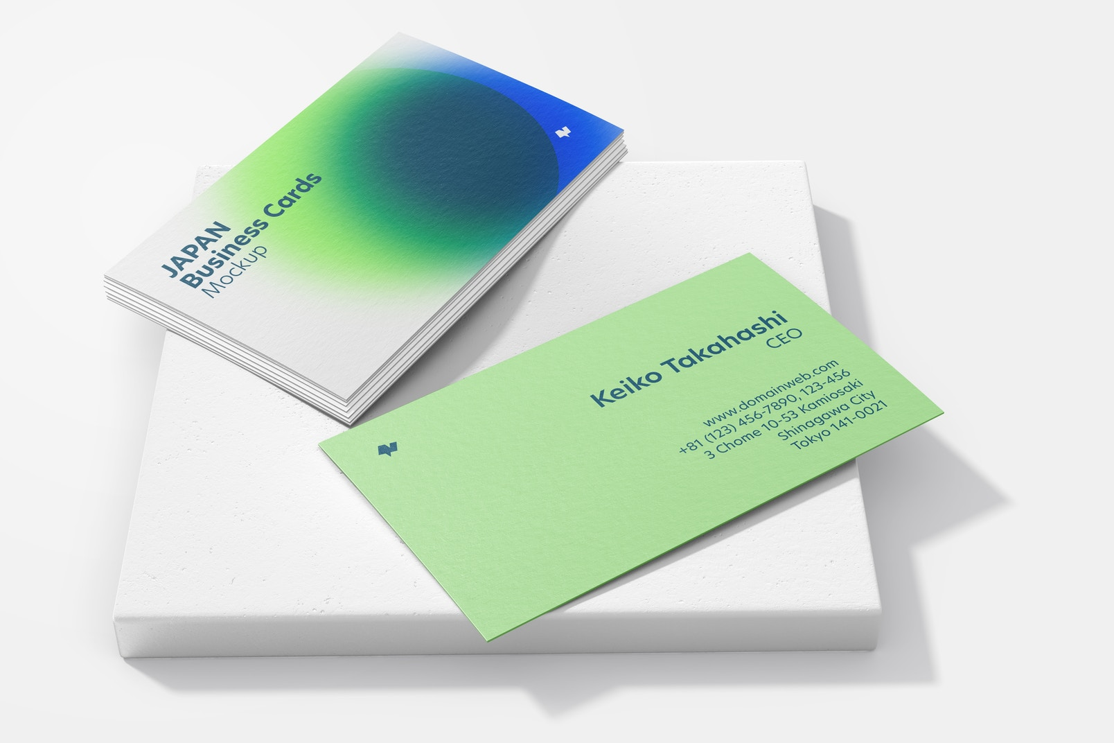 Japan Landscape Business Cards with Square Stone Mockup