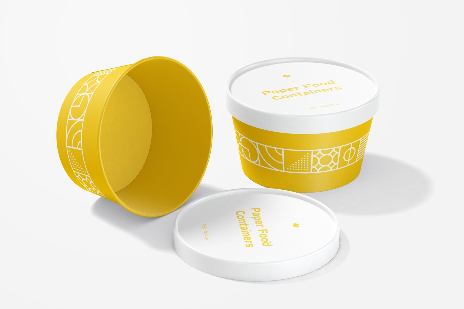 Round Paper Food Containers Mockup