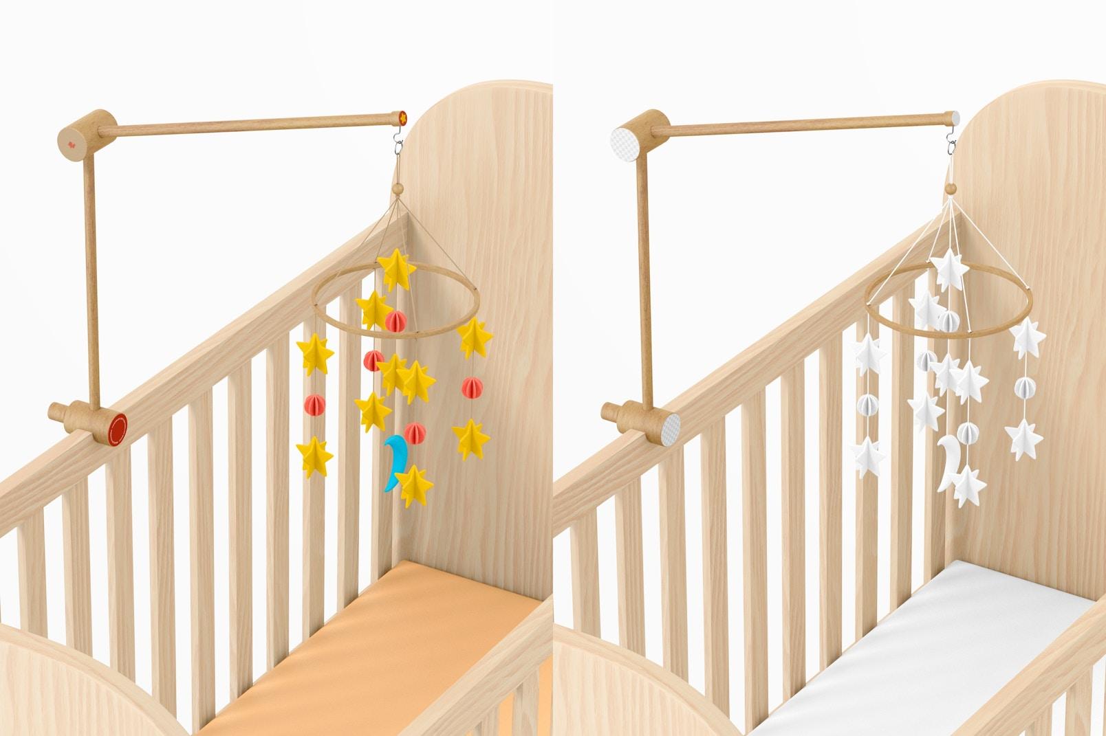 Baby Crib Mobile Mockup, Top View