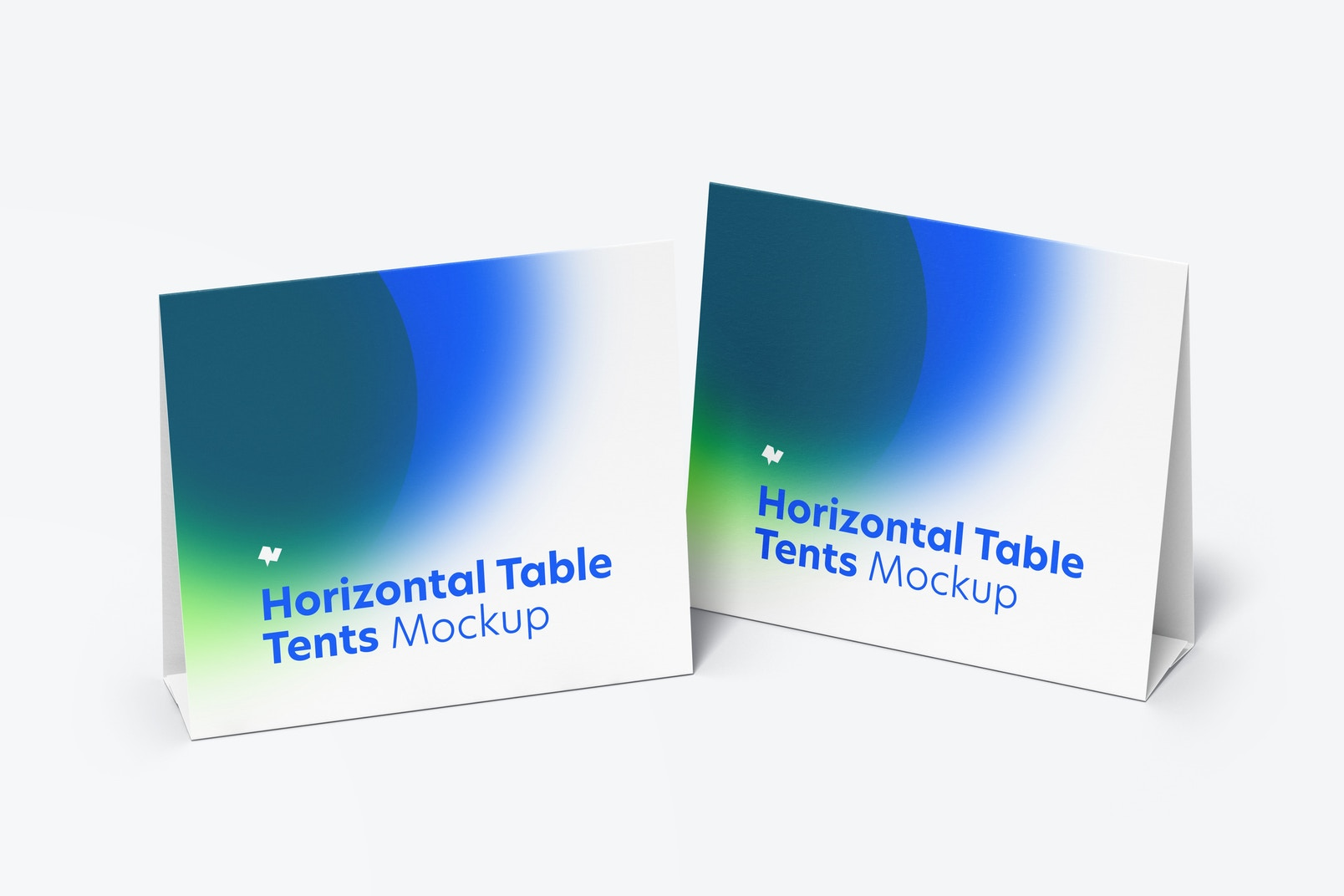 Horizontal Table Tent Cards Mockup, Perspective