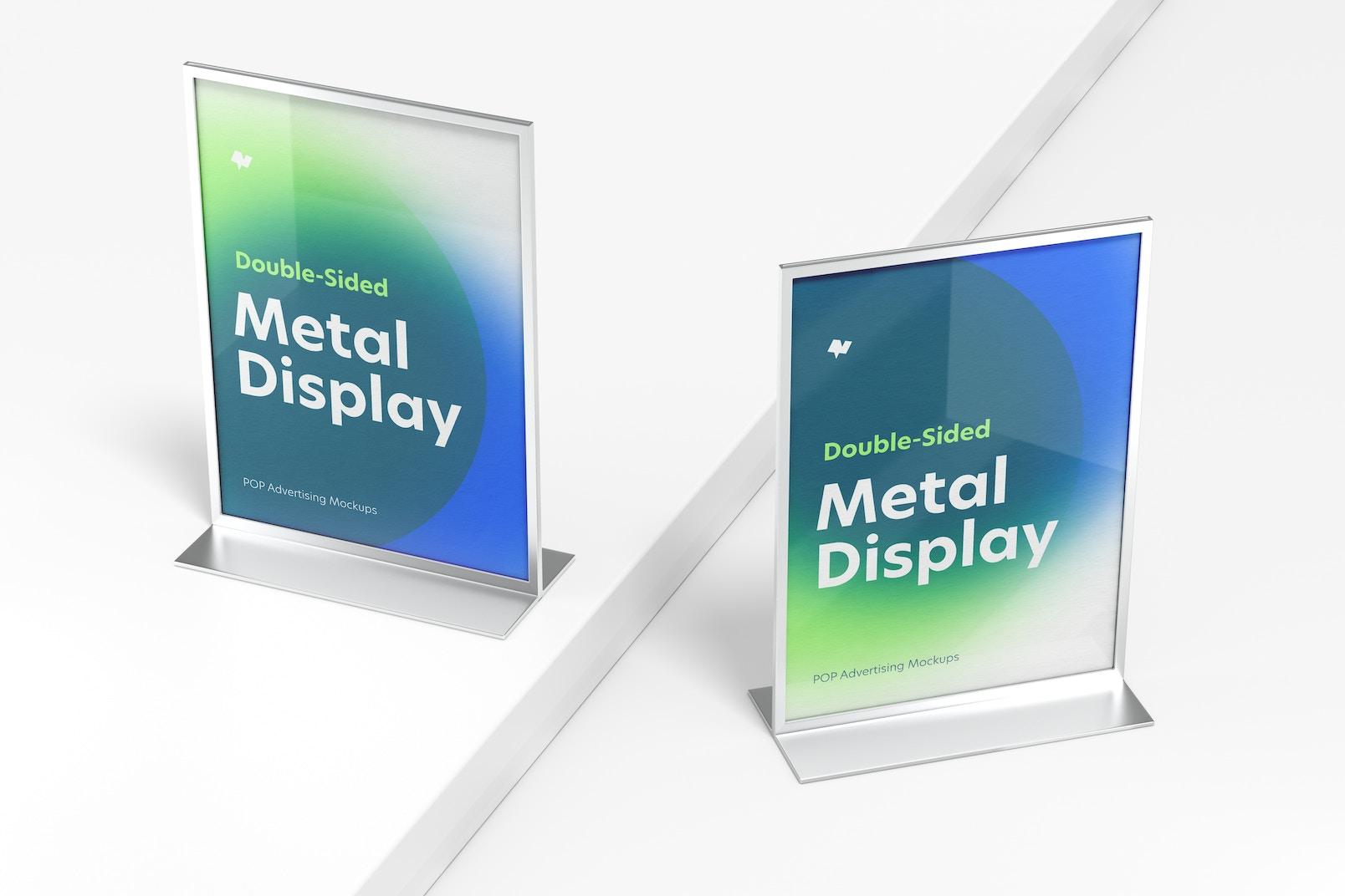 Double-Sided Poster Metal Desktop Display Mockup, Top View