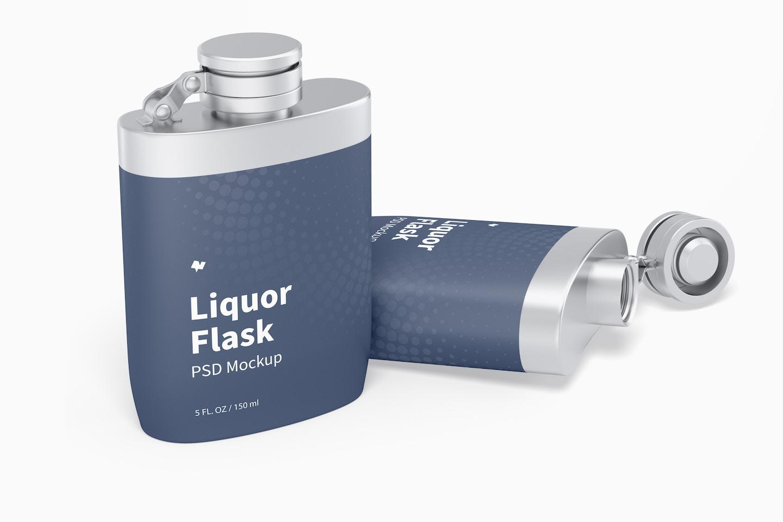 Liquor Flasks With Plastic Wrap Mockup