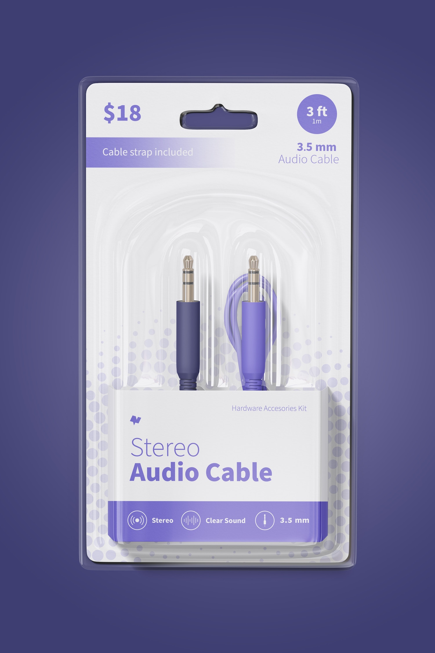 Stereo Audio Cable Mockup, Front View
