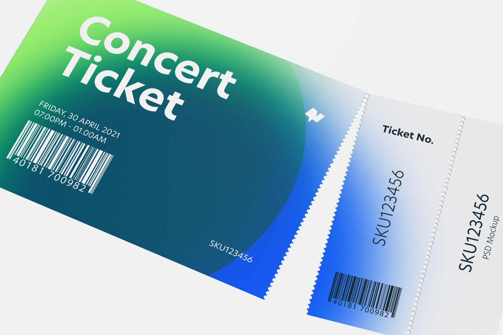 Concert Ticket Mockup, Close Up