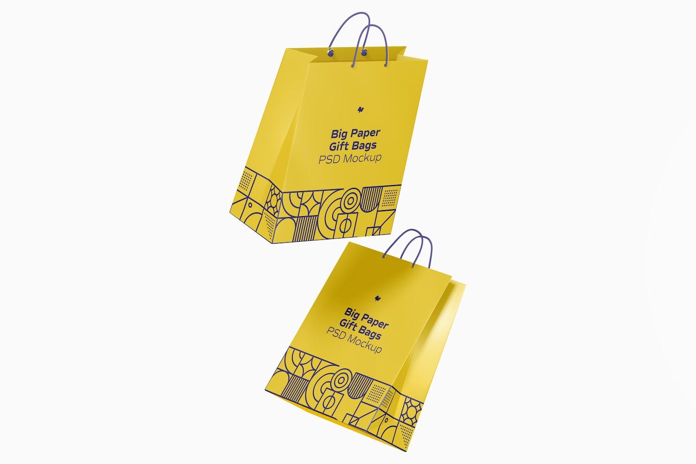 Big Paper Gift Bag With Rope Handle Mockup, Floating
