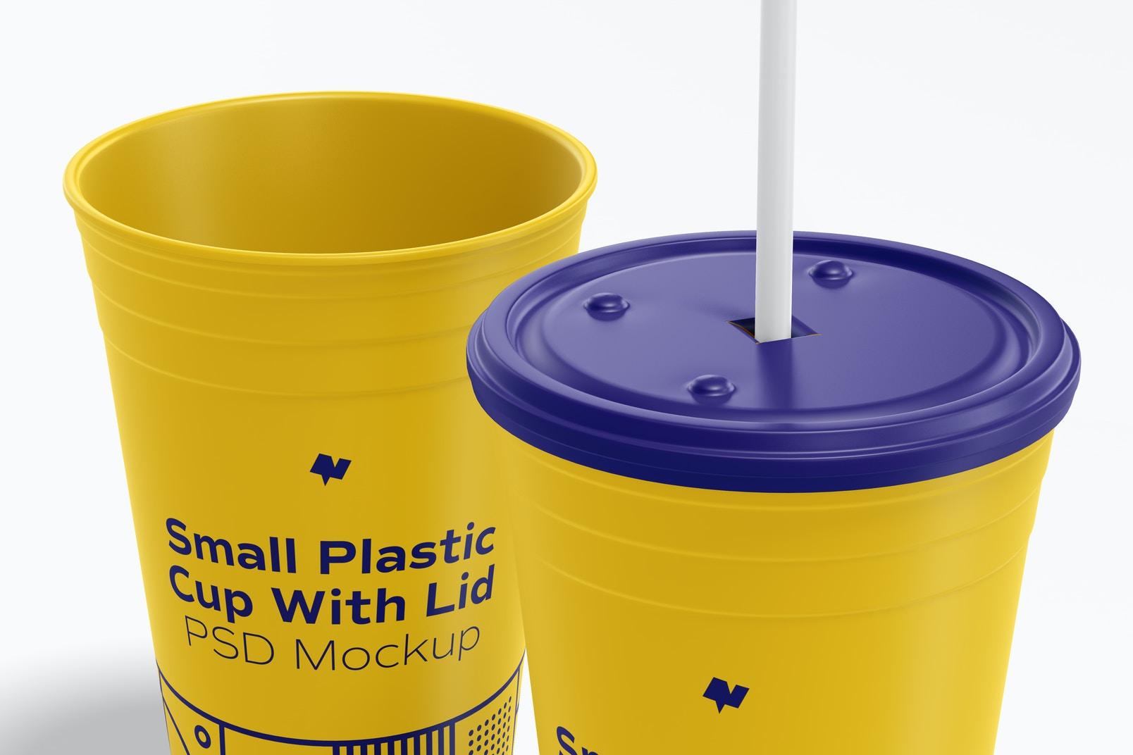 Small Plastic Cup with Lid Mockup, Close Up
