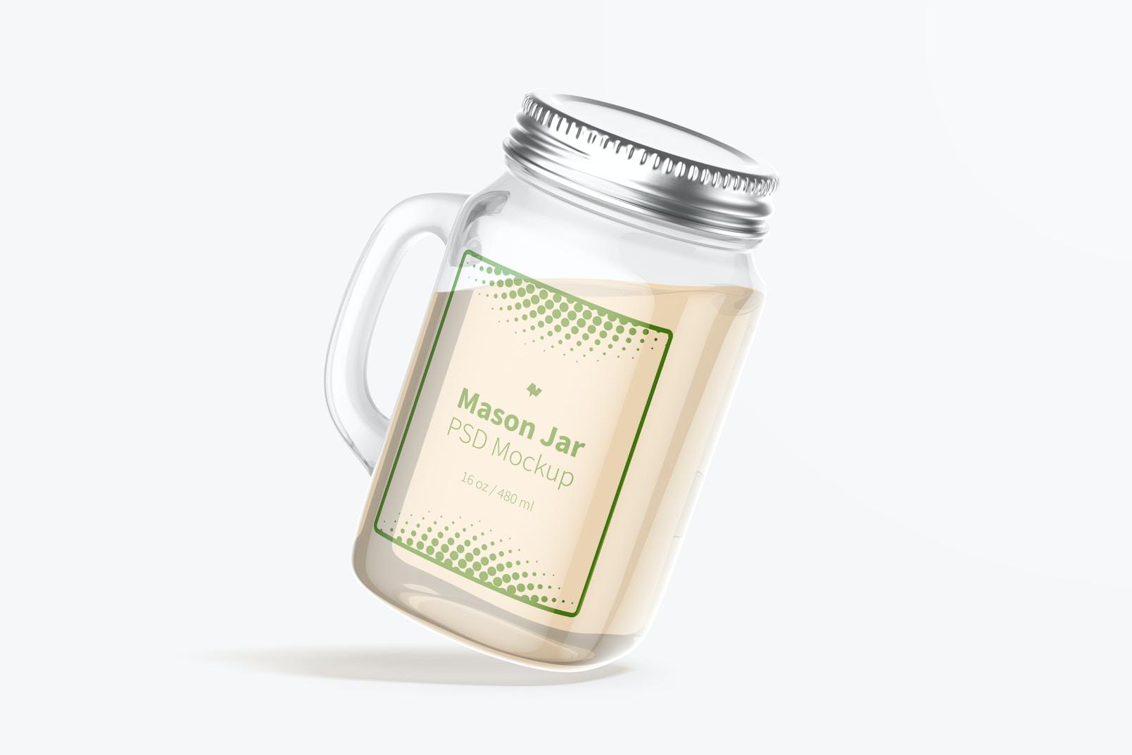 Maqueta de Mason Jar de 16 oz, Flotando