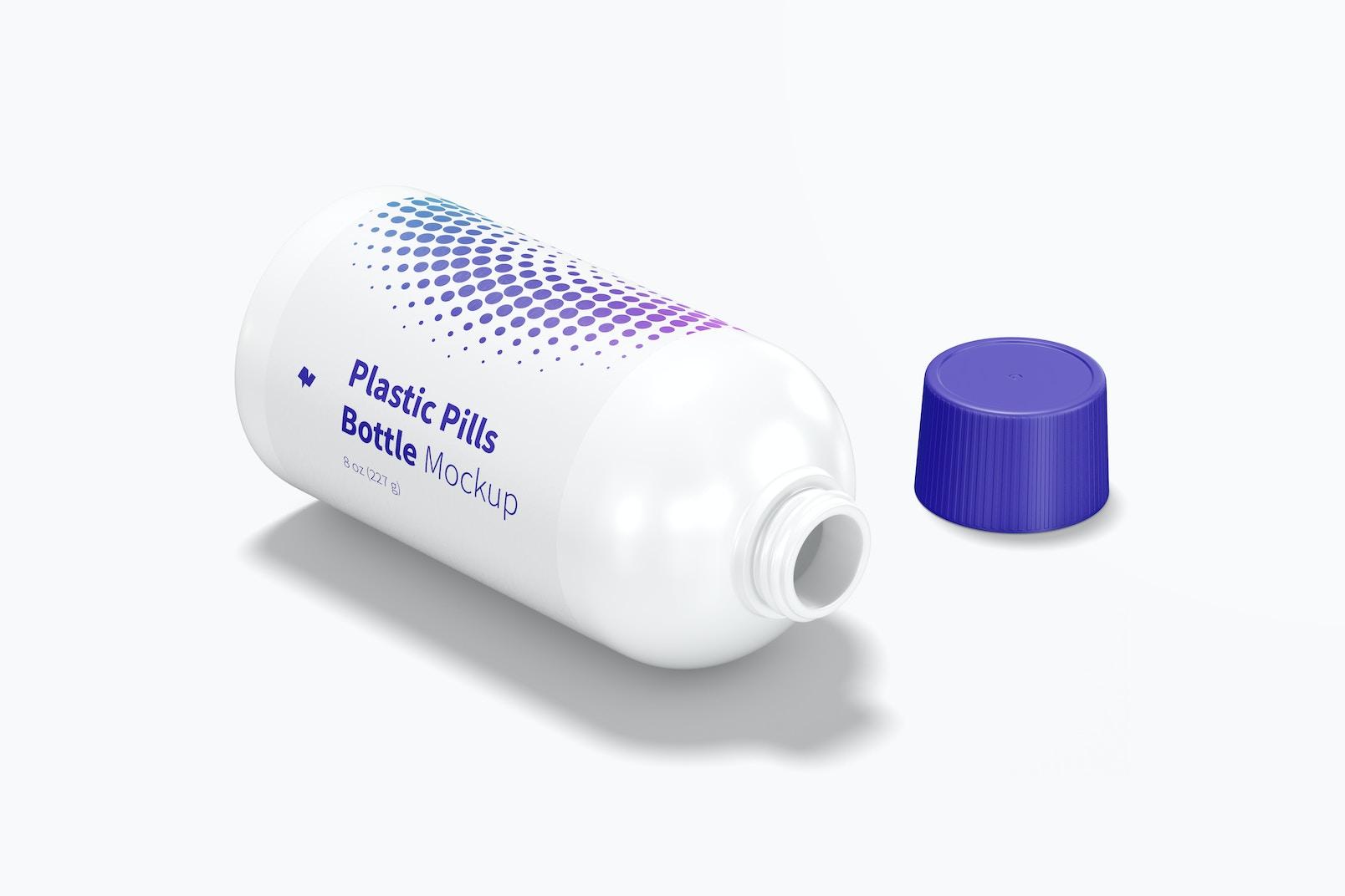 Plastic Pills Bottle Mockup, Opened