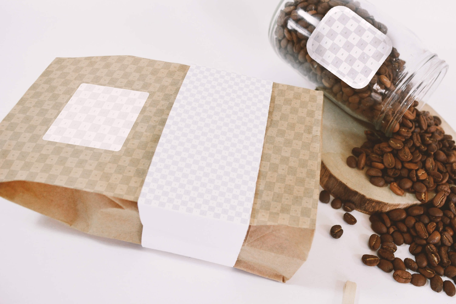 Coffee Bag and Glass Jar Mockup - Perspective Top View (2) by Eduardo Mejia on Original Mockups
