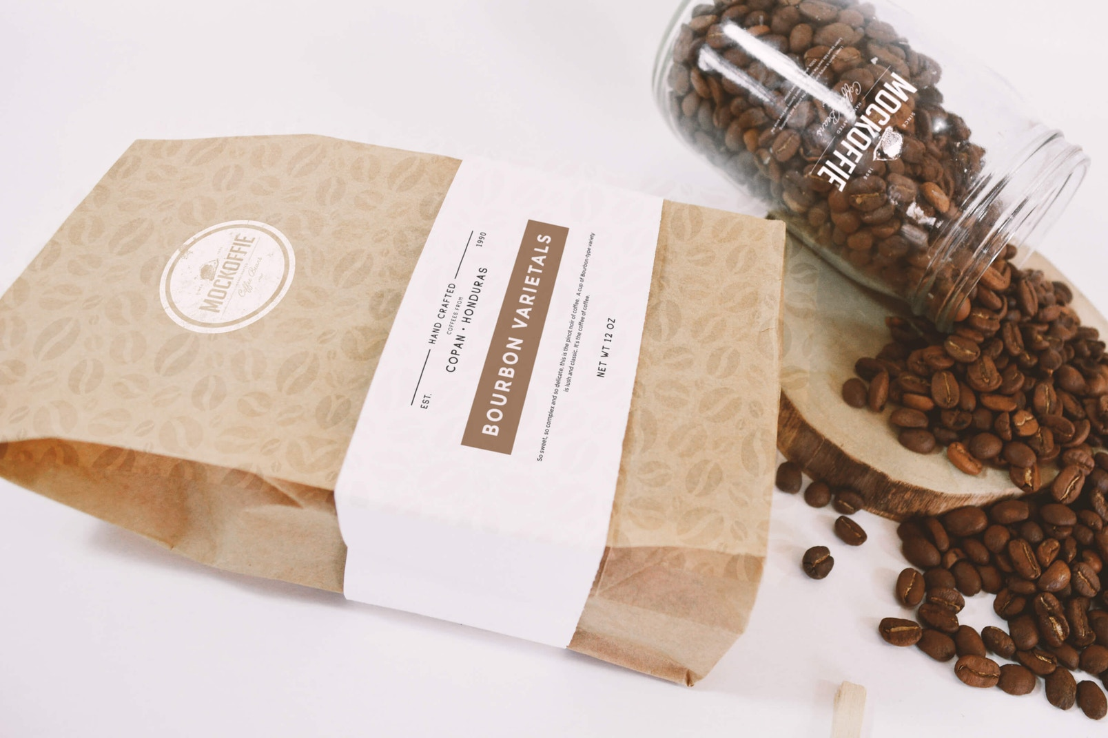 Coffee Bag and Glass Jar Mockup - Perspective Top View