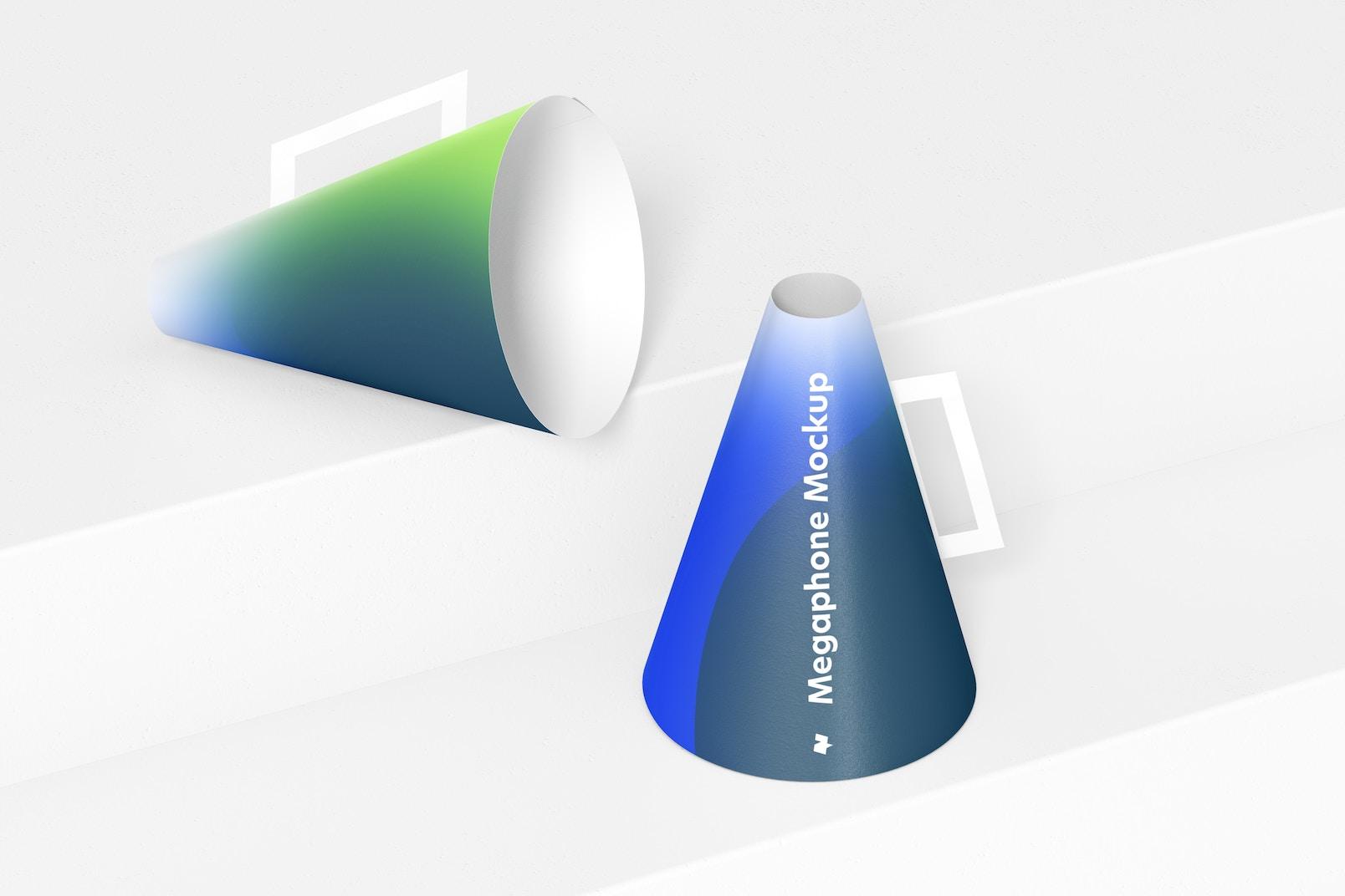 Paper Megaphones Mockup, Right View