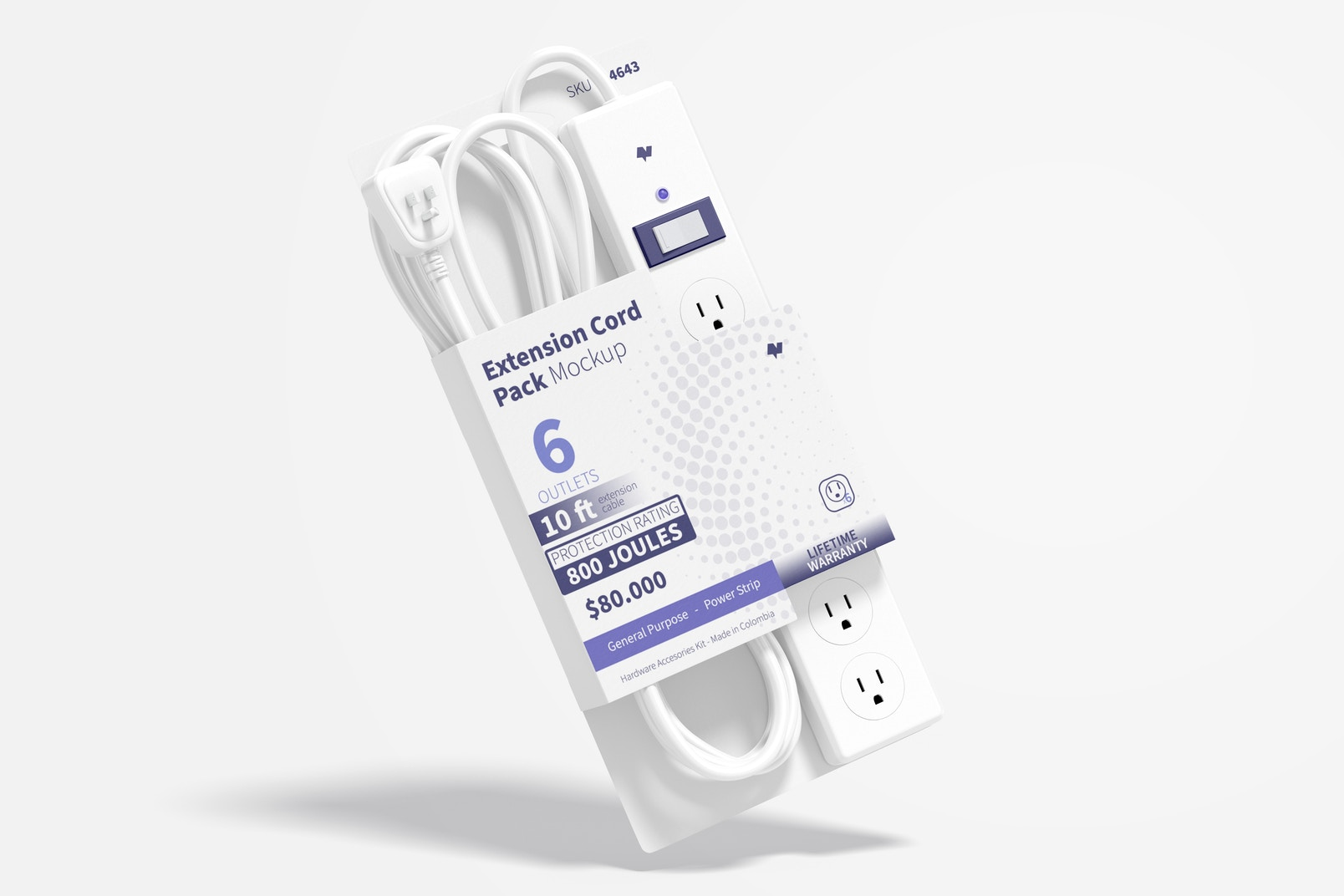 Extension Cord Pack Mockup, Floating