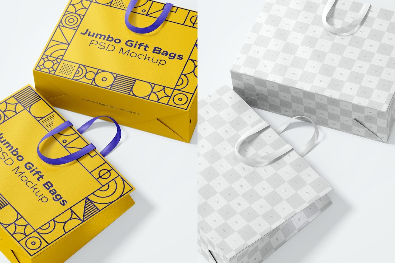 Jumbo Gift Bags with Ribbon Handle Mockup, Close Up