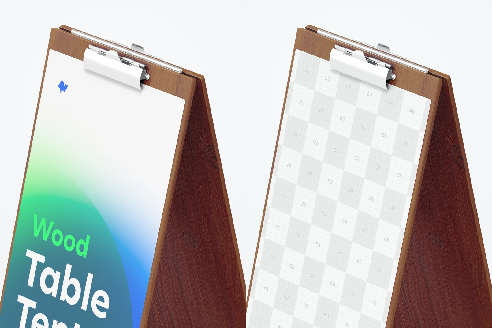 Wood Table Tent with Clip Mockup, Close-Up