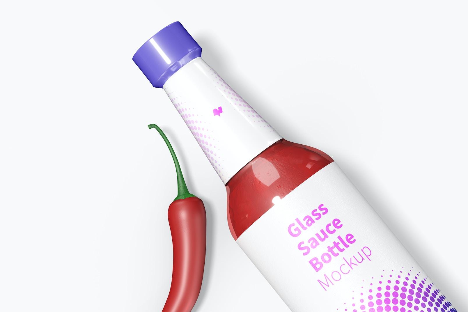 Maqueta de Botella de Vidrio para Salsa de 10 oz, Primer Plano