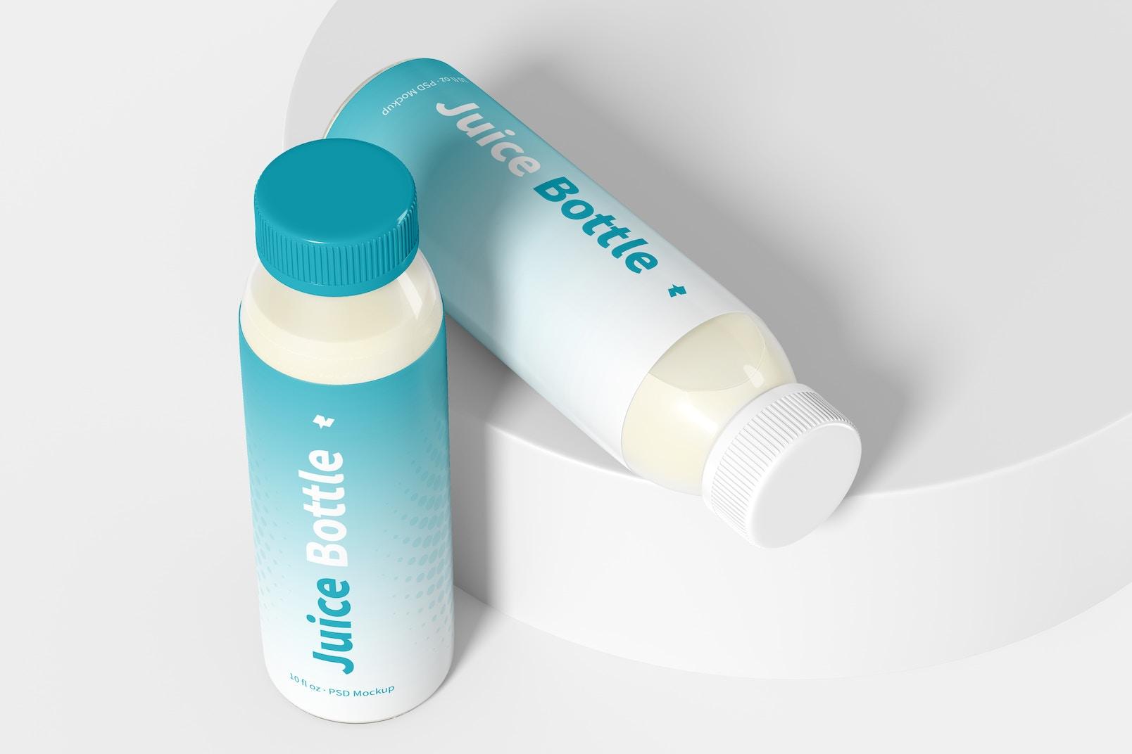 10 oz Clear PET Juice Bottles Mockup, Perspective View