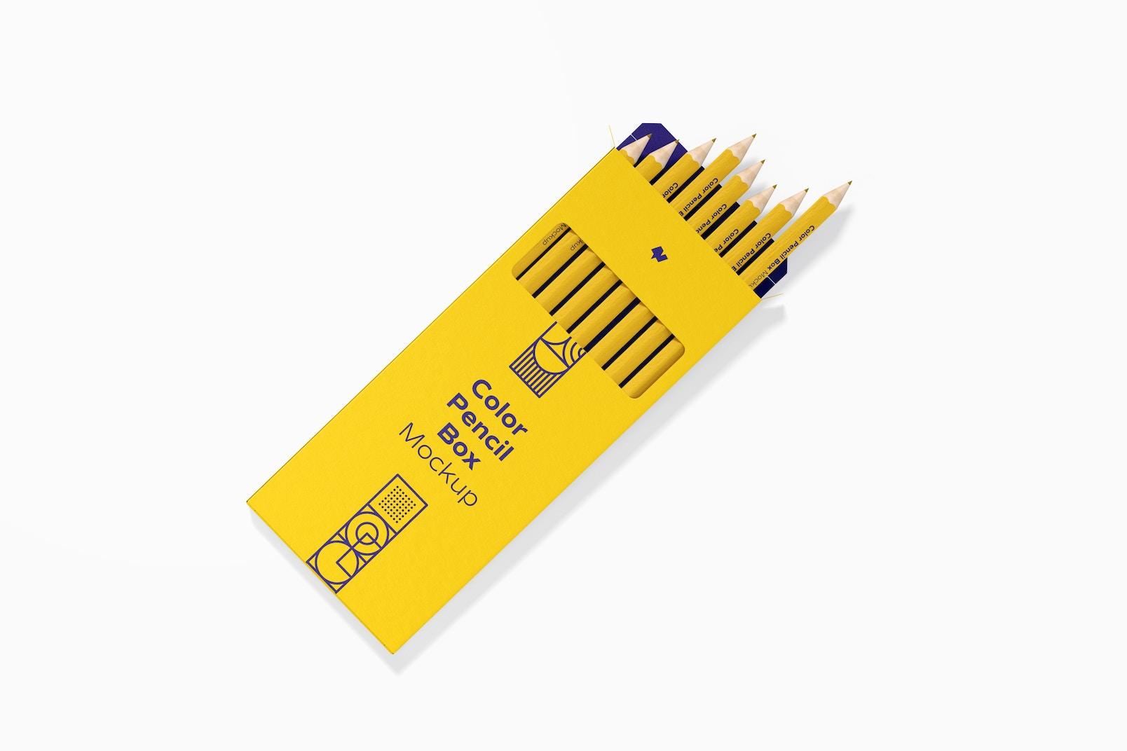 Color Pencil Box Mockup, Top View