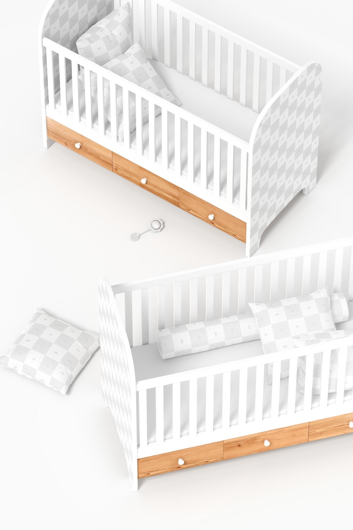 Baby Cribs Mockup, Top View