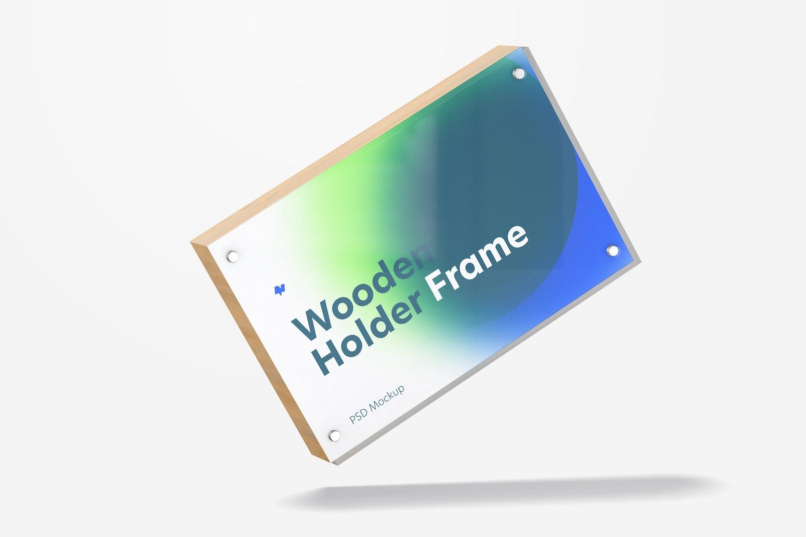 Wooden Label Holder Frame Mockup, Falling