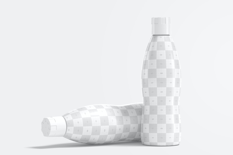 32 oz Yogurt Bottles Mockup, Standing and Dropped