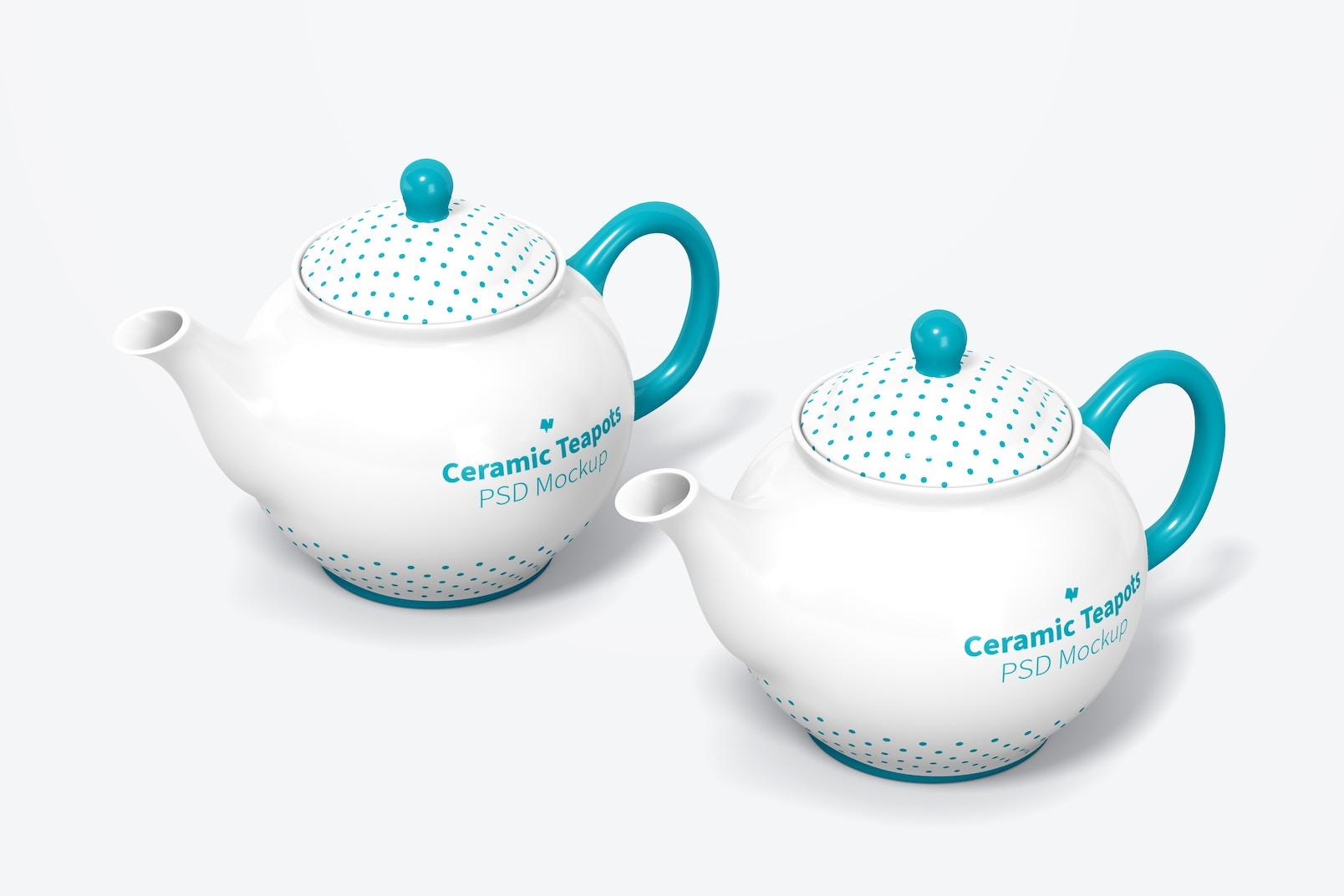 Ceramic Teapots Mockup, Perspective View