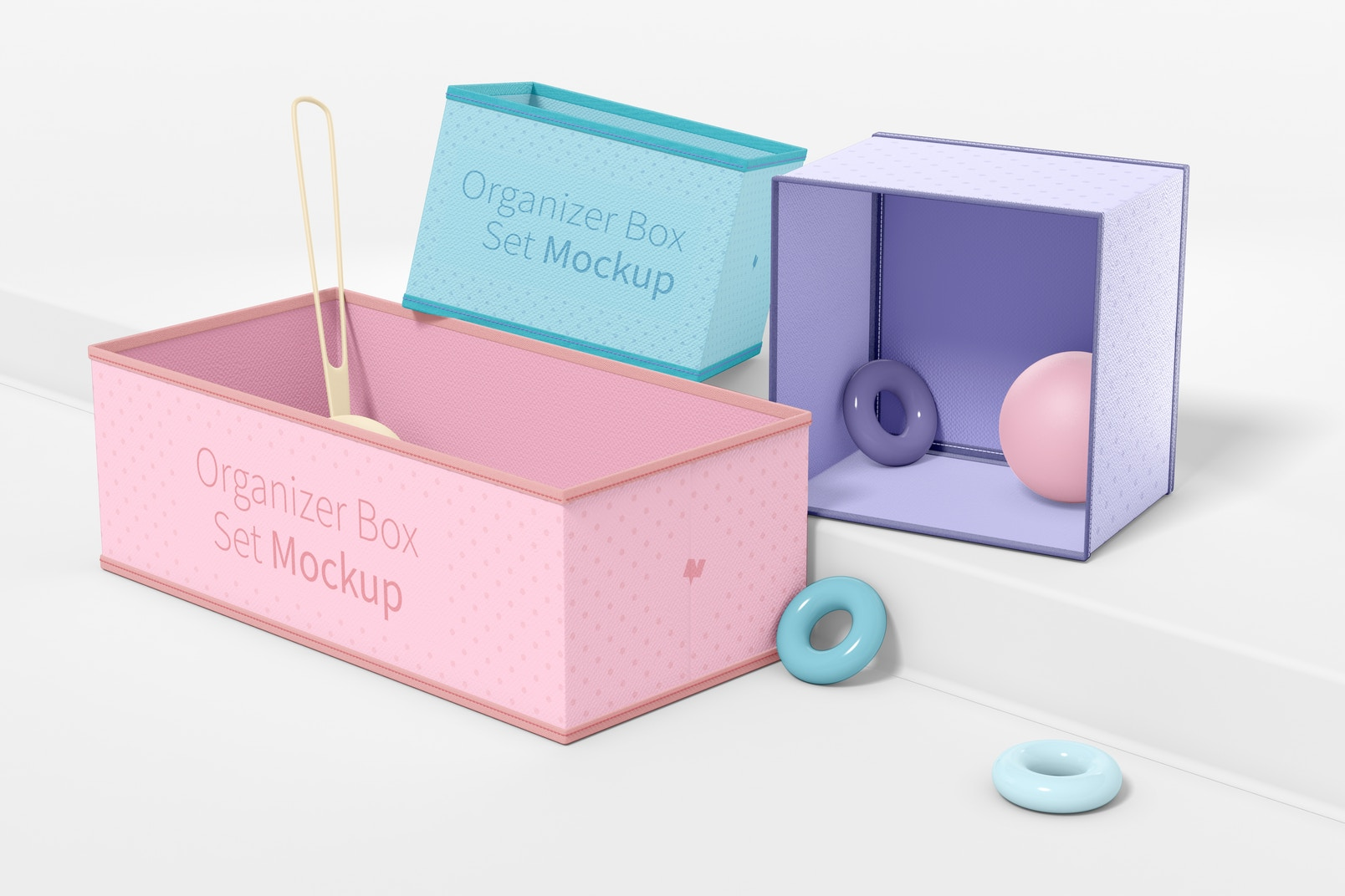 Fabric Organizer Box Set Mockup, Right View