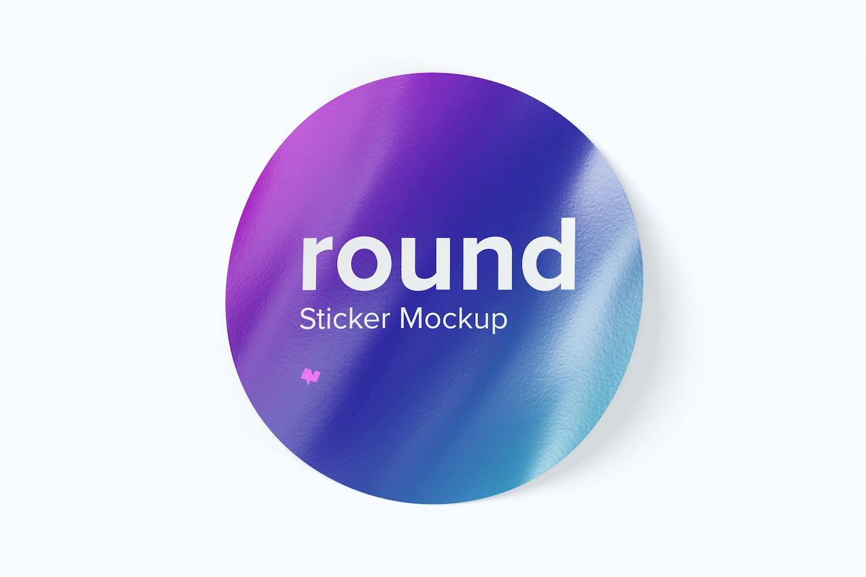 Round Sticker Mockup, Top View 02