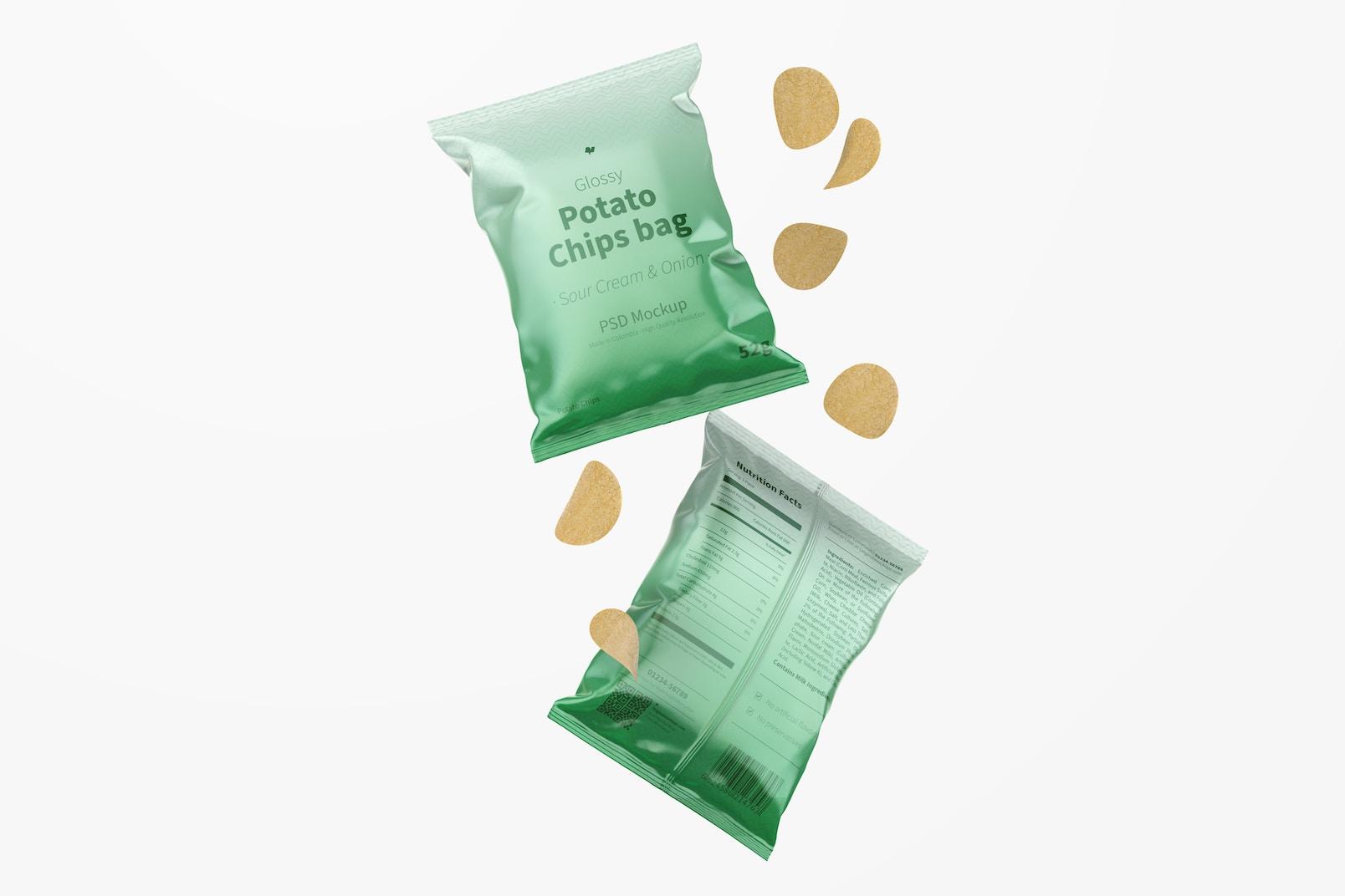Glossy Chips Bags Mockup
