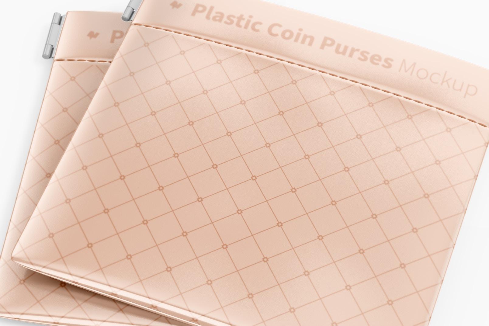 Plastic Coin Purse Mockup, Close Up