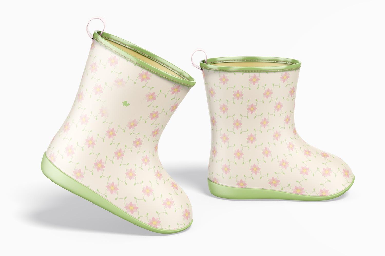 Kids Rain Boots Mockup, Right View