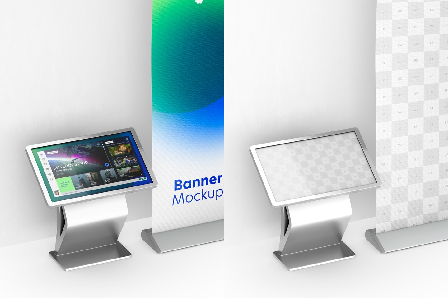 """55"""" Floor Stand Digital with Banner Mockup"""