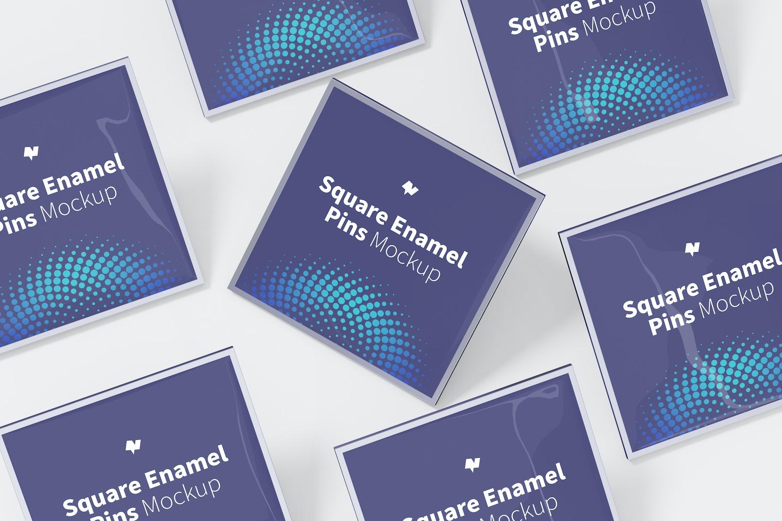 Square Enamel Pin Set Mockup