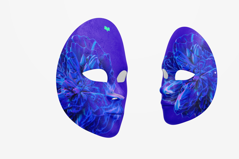 Plain Venetian Full-Face Masks Mockup, Perspective