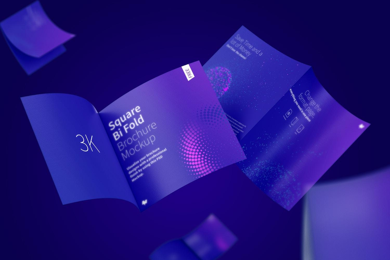 FREE Square Bi Fold Brochure Mockup, Floating 3K
