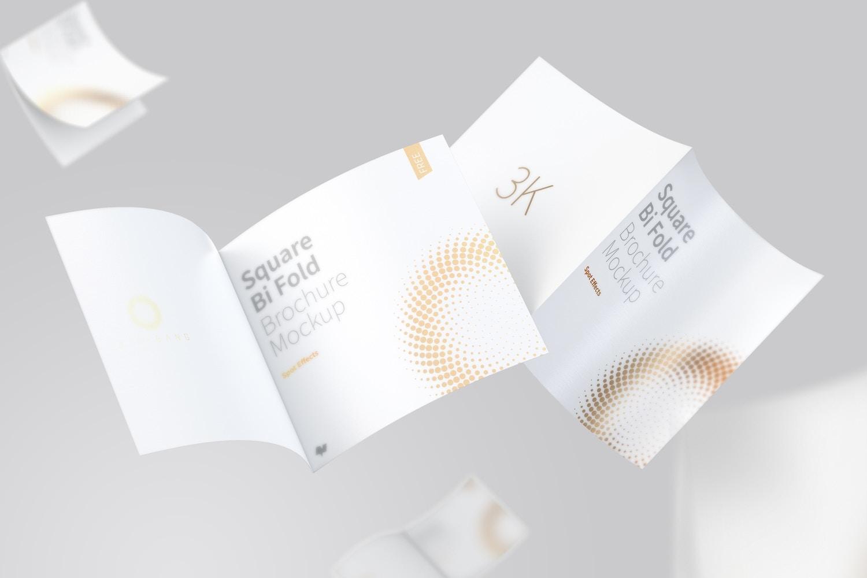 FREE Square Bi Fold Brochure Mockup, Floating 3K (6) by Original Mockups on Original Mockups