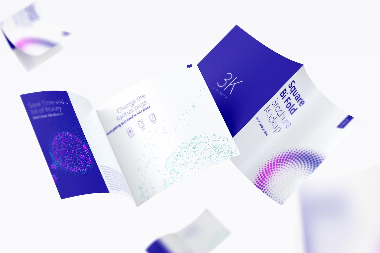 FREE Square Bi Fold Brochure Mockup, Floating 3K (2) by Original Mockups on Original Mockups
