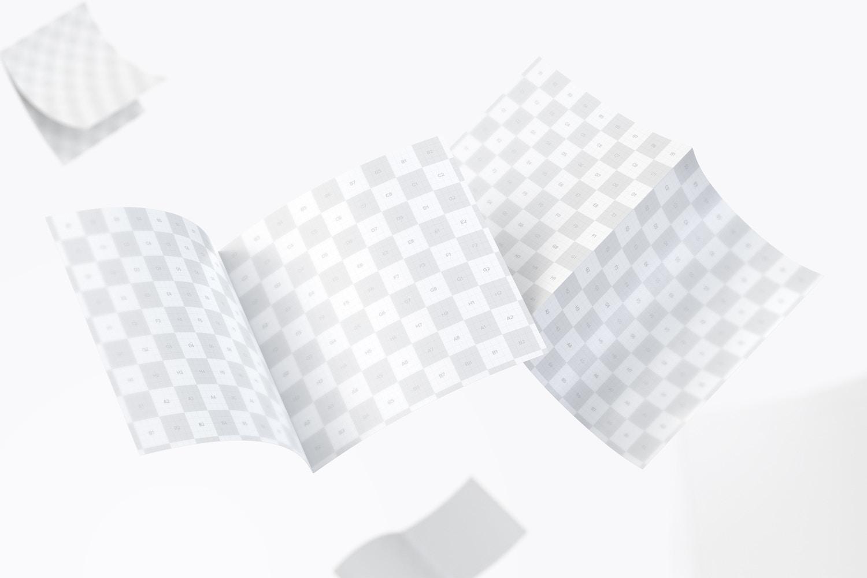 FREE Square Bi Fold Brochure Mockup, Floating 3K (3) by Original Mockups on Original Mockups